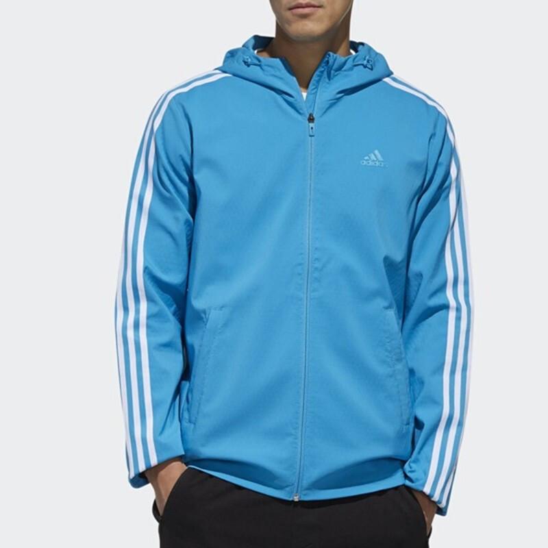 Adidas阿迪达斯男装外套 2019春季 运动休闲三条纹时尚连帽防风透气梭织开衫夹克DW4621