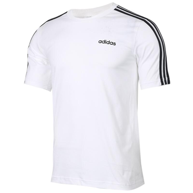 阿迪达斯 Adidas  男装 舒适三条纹透气休闲字母圆领短袖半袖T恤 DU0441