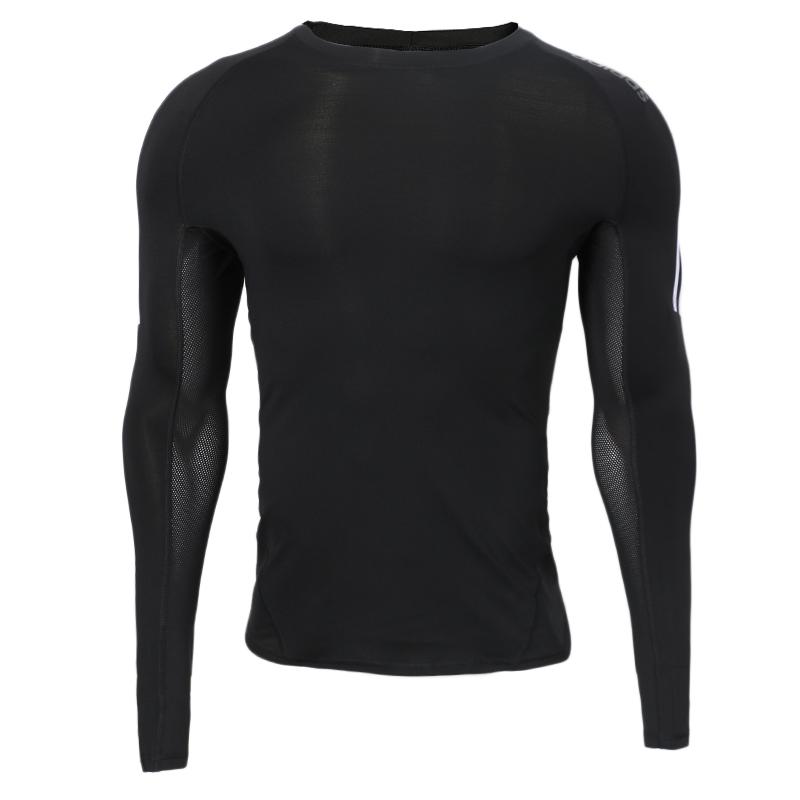 阿迪达斯Adidas neo 男子 运动紧身衣跑步训练舒适透气长袖圆领时尚潮流健身T恤DW8481