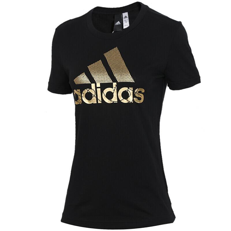 阿迪达斯Adidas 女子 情侣装上衣  运动经典大LOGO时尚休闲透气圆领短袖T恤 DV3025