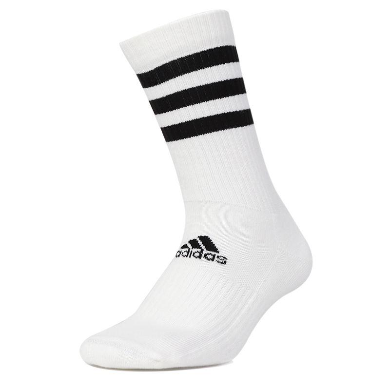阿迪达斯 adidas  男女 运动跑步舒适耐磨黑白三道杠中筒袜子 FH6628