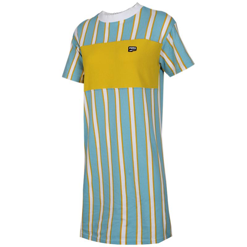 彪马 PUMA 女子 运动休闲透气时尚短袖长款T恤连衣裙 596007-45