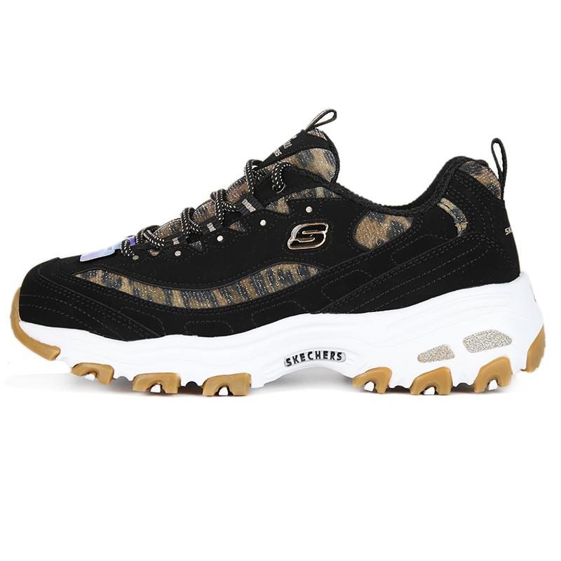 斯凯奇 Skechers DLITES  女子 新款D'LITES熊猫鞋子潮流豹纹厚底增高缓震透气休闲跑步鞋 13158-BKLD