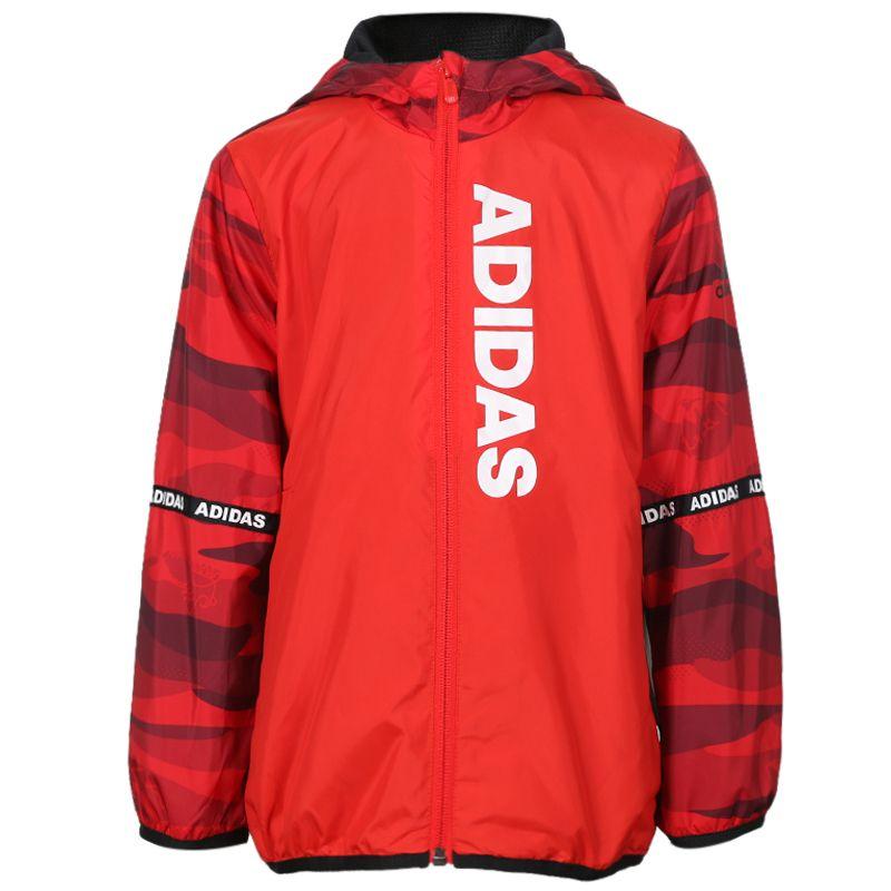 阿迪达斯 adidas LB MESH WV JKT 儿童 连帽休闲上衣防风夹克外套 DW5919