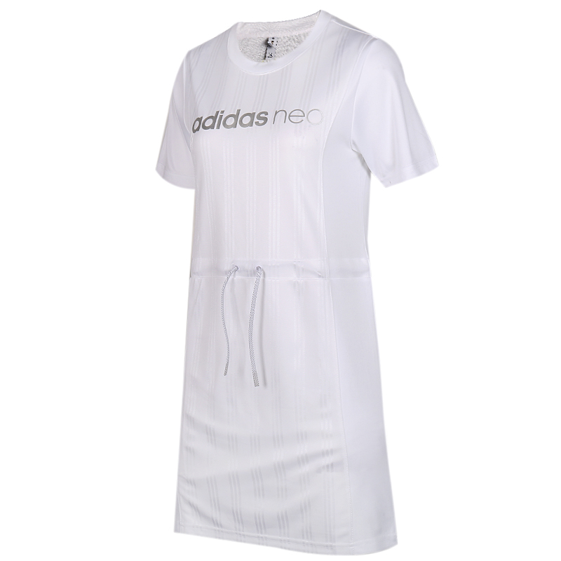 阿迪生活 Adidas NEO 女子 舒适休闲透气时尚长款短袖T恤连衣裙 EI4261