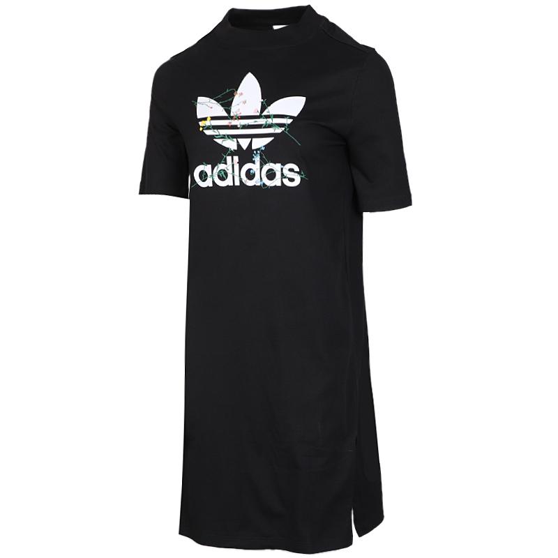 阿迪达斯三叶草 Adidas 女子 运动连衣裙休闲显瘦长款t恤裙 FL0037