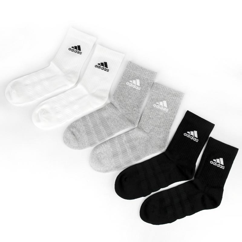 阿迪达斯 adidas 男女 舒适透气三双装休闲袜子  DZ9355