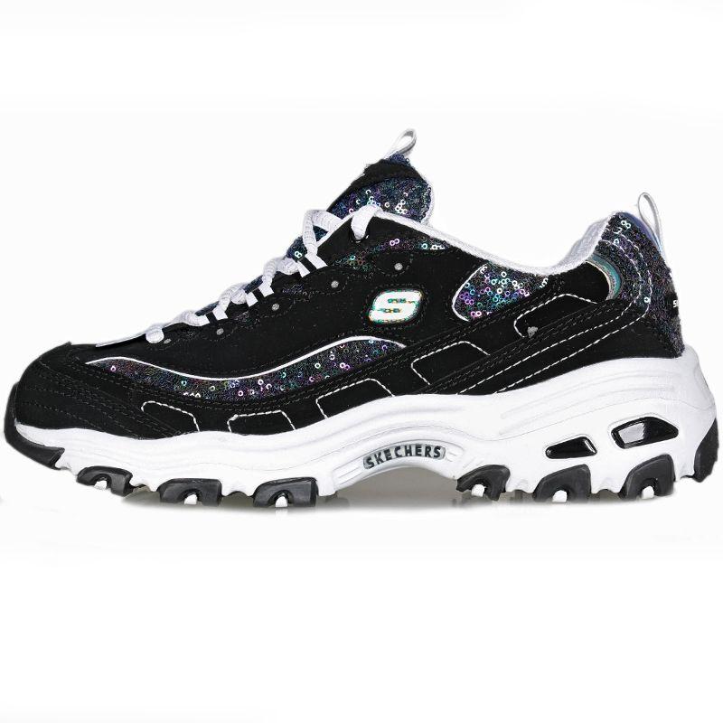 斯凯奇 Skechers 女子 D'lites熊猫鞋子亮片厚底增高休闲透气缓震耐磨跑步鞋 11916-BKW