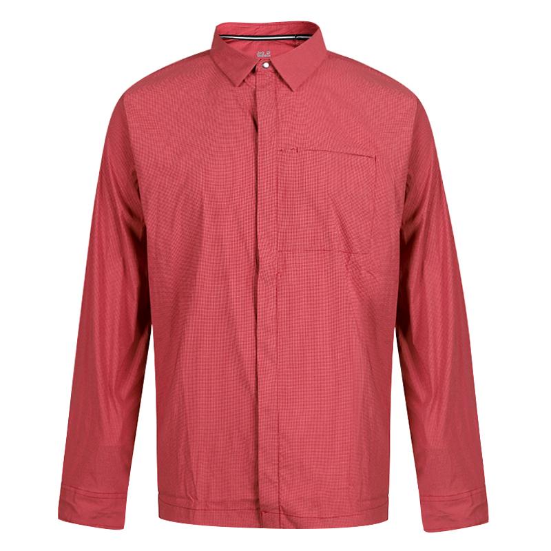 狼爪 Jack wolfskin  男子 运动服跑步训练健身透气舒适休闲长袖衬衫 1403071-2027