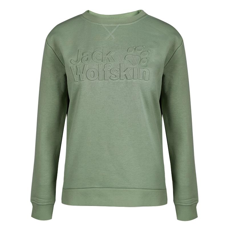 狼爪 Jack wolfskin 女子户外休闲舒适透气柔软圆领套头卫衣 1707811-4000