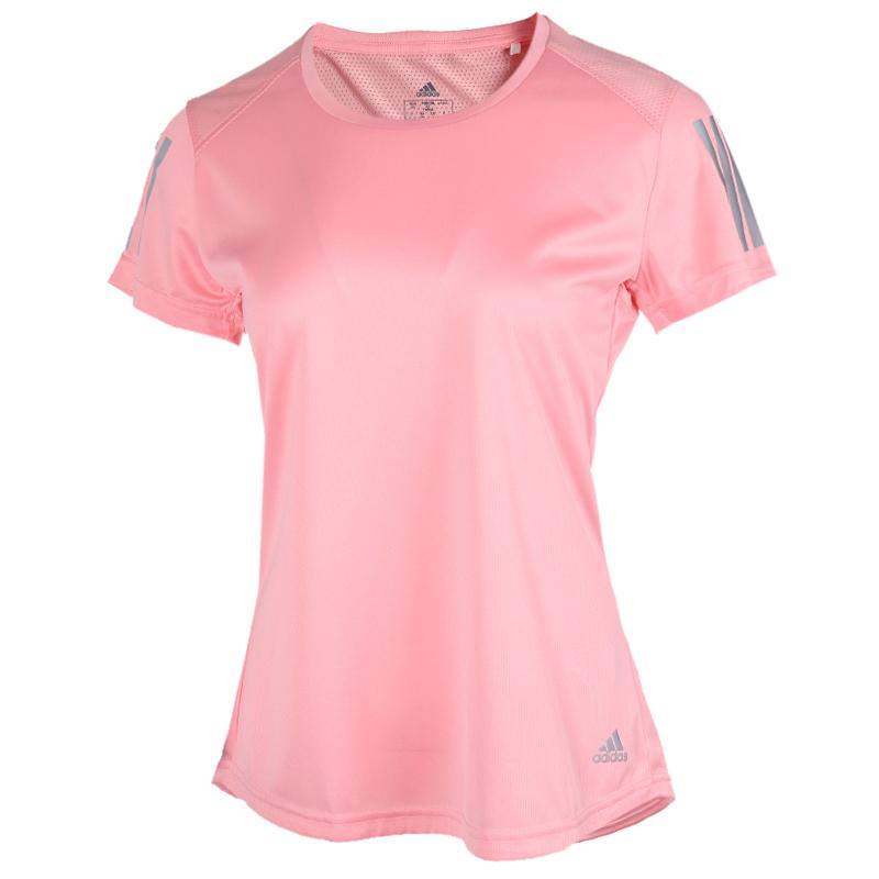 阿迪达斯adidas 女装 三条纹休闲透气跑步健身圆领短袖T恤 FL7815