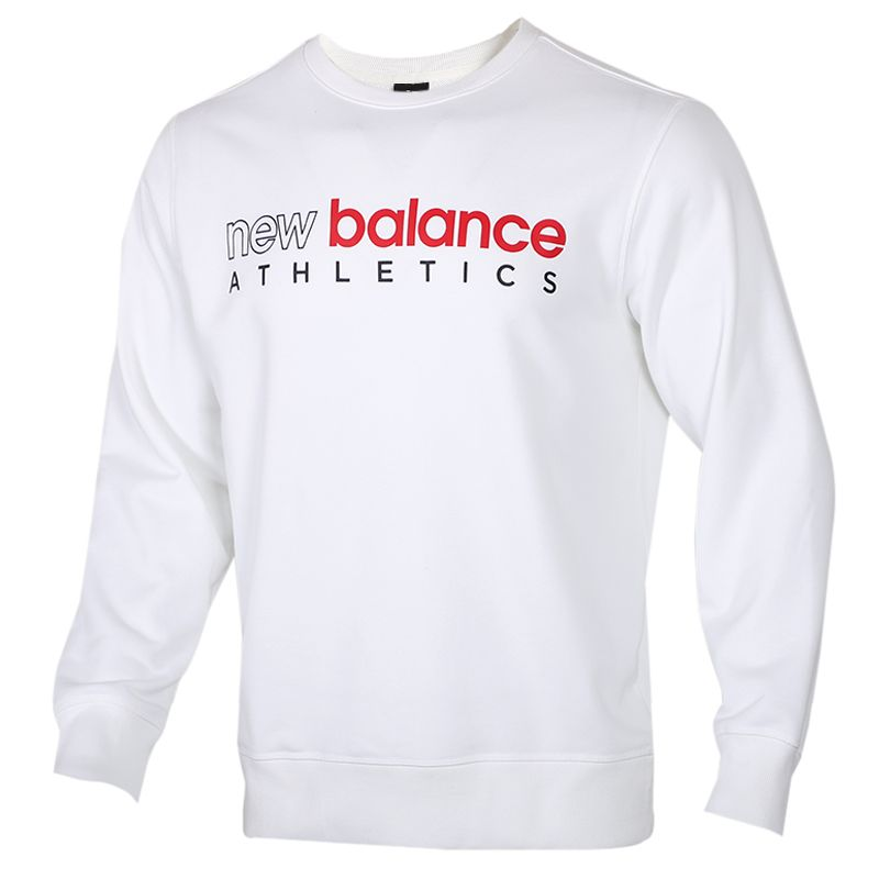 New Balance 男装 透气舒适休闲运动服跑步训练健身长袖卫衣套头衫 AMT01577-WT