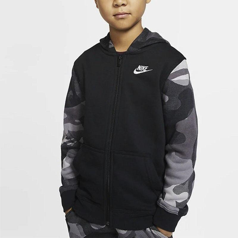 耐克 Nike 童装 新款运动休闲舒适耐磨针织保暖抓绒连帽夹克外套 BV4496-010