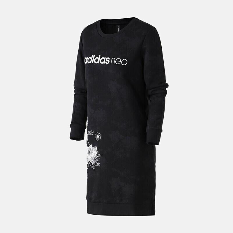 阿迪生活Adidas NEO 运动服针织休闲长款时尚圆领卫衣套头衫 DZ7607