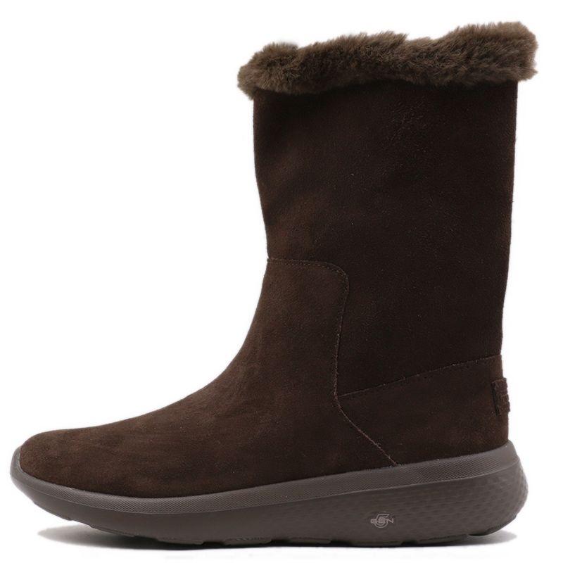 斯凯奇Skechers 女鞋 2018冬新品轻质毛里中筒靴保暖高帮一脚套雪地靴 14620-CHOC