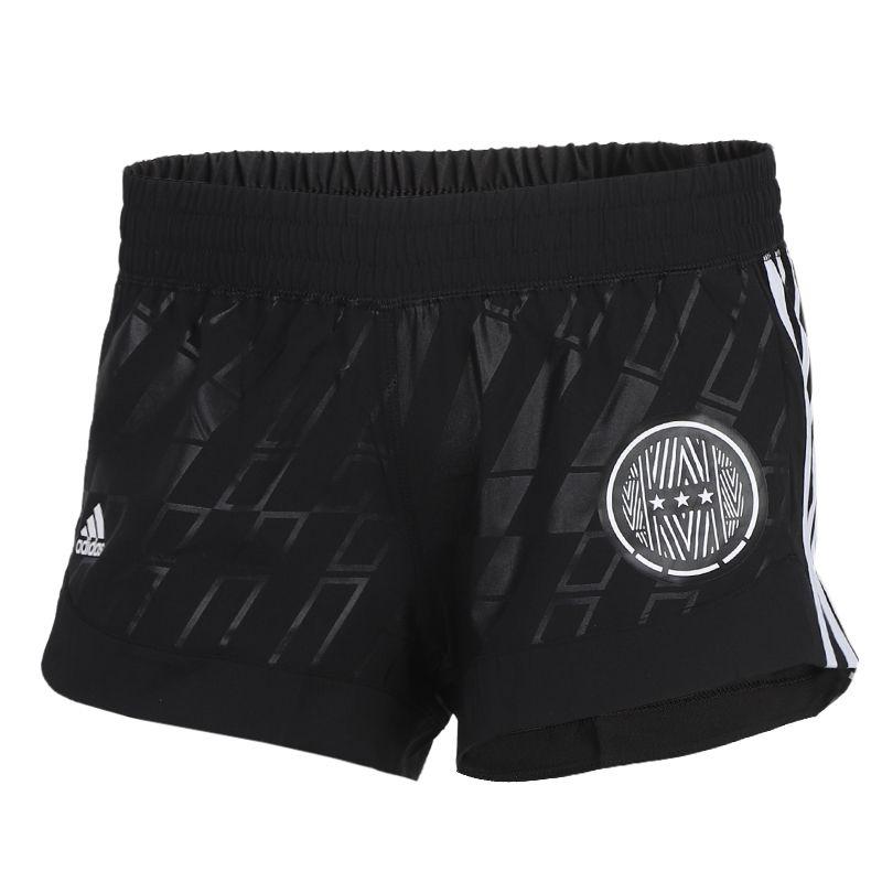 阿迪达斯adidas 女装 跑步训练健身透气三条纹休闲热裤梭织短裤 FJ7207