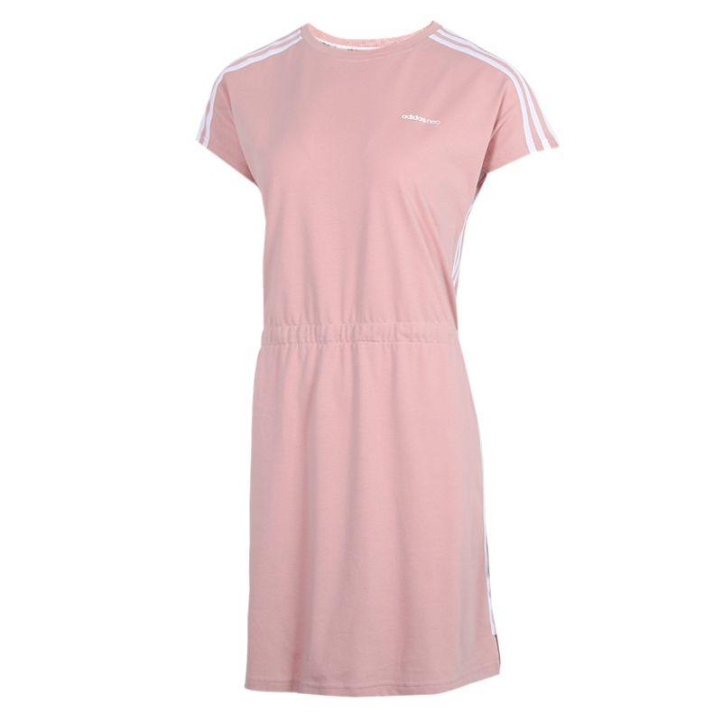 阿迪达斯adidas  女装 运动服休闲透气时尚短袖长款T恤连衣裙 GK1503
