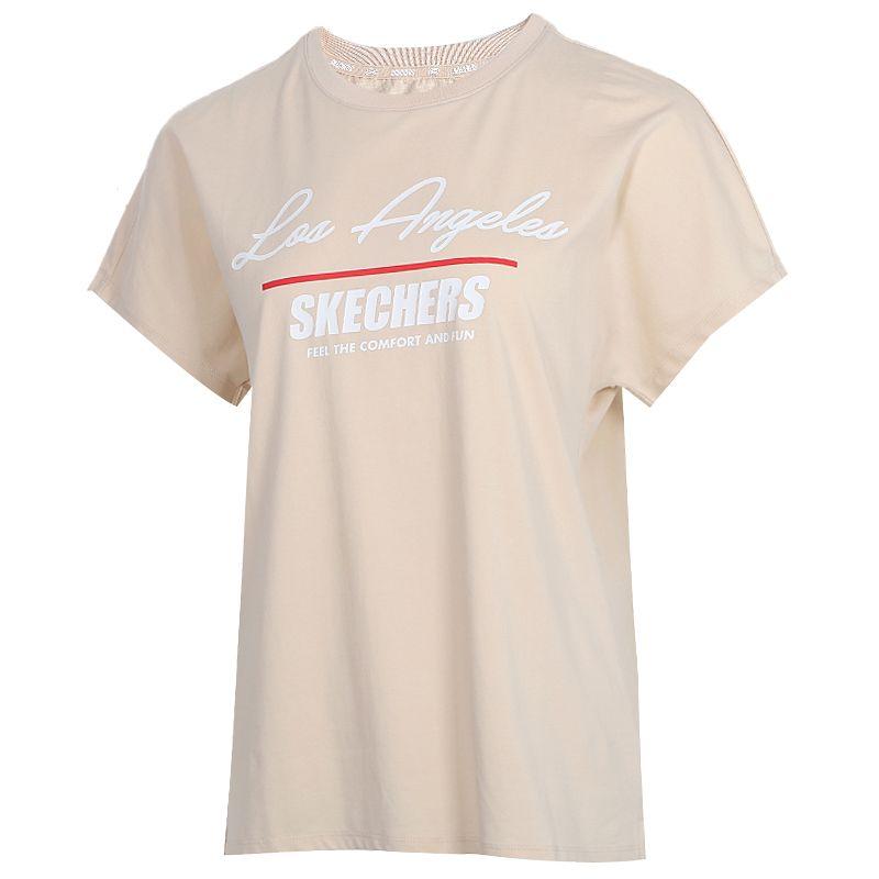 斯凯奇 Lifestyle 女装 运动服跑步训练健身快干透气舒适休闲圆领短袖T恤 L220W002-00GF