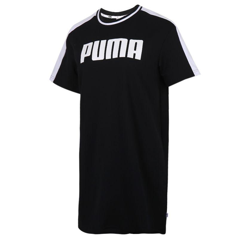 彪马PUMA Dress 女装 运动休闲透气时尚短袖家居服长款T恤连衣裙 599909-01