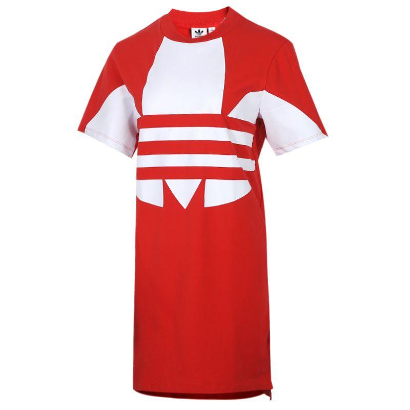 阿迪达斯三叶草adidas 女装 圆领长款T恤运动休闲透气时尚短袖连衣裙FR7173