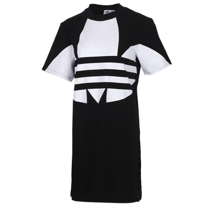阿迪三叶草adidas LRG LOGO DRESS 女装 运动大码宽松舒适大LOGO长款T恤短袖棉质 FR7174