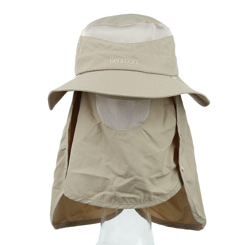 卡蒙kenmont  男子 护颈遮脸遮阳防晒户外钓鱼渔夫薄款防紫外线可折叠太阳帽 KM-3017-15