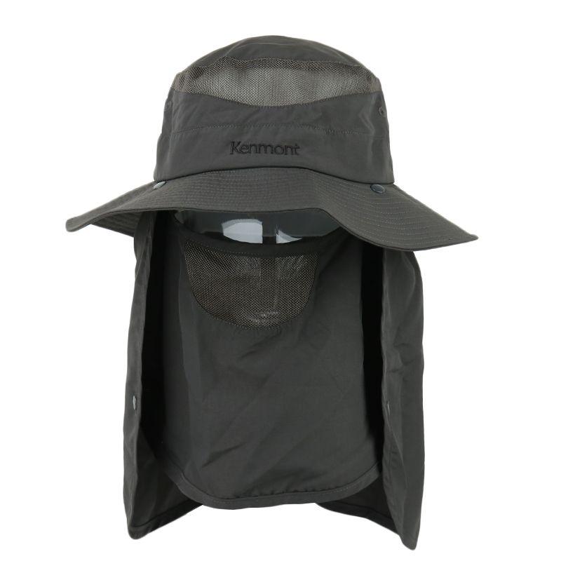 卡蒙kenmont  男子  护颈遮脸遮阳防晒帽户外钓鱼渔夫帽薄款防紫外线可折叠太阳帽 KM-3017-38