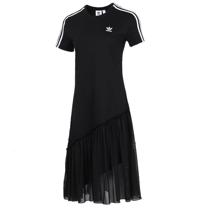 阿迪三叶草Adidas 女装 绢纱运动连衣裙子 GK3663