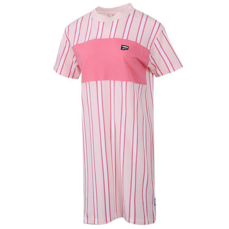 彪马PUMA 女装 运动休闲透气时尚短袖长款T恤连衣裙 596007-17