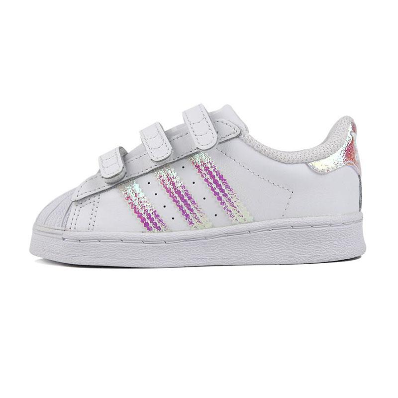 阿迪达斯三叶草 adidas 儿童 运动鞋时尚贝壳头小白鞋休闲低帮魔术贴板鞋 FV3657