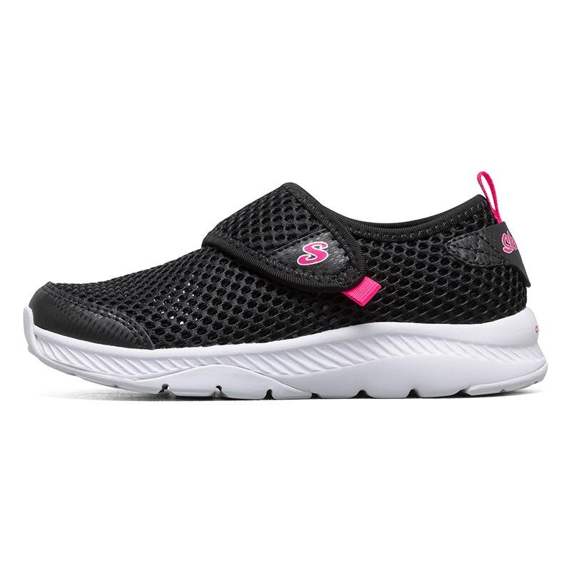 斯凯奇Skechers 儿童 休闲时尚网面舒适轻便透气魔术贴运动鞋 664152L-BLK