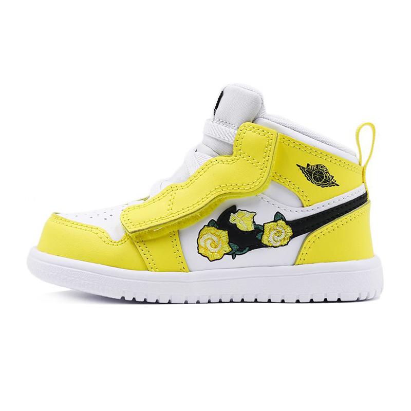 耐克NIKE  儿童  AIR JORDAN 1黄玫瑰刺绣运动鞋  AT4613-700