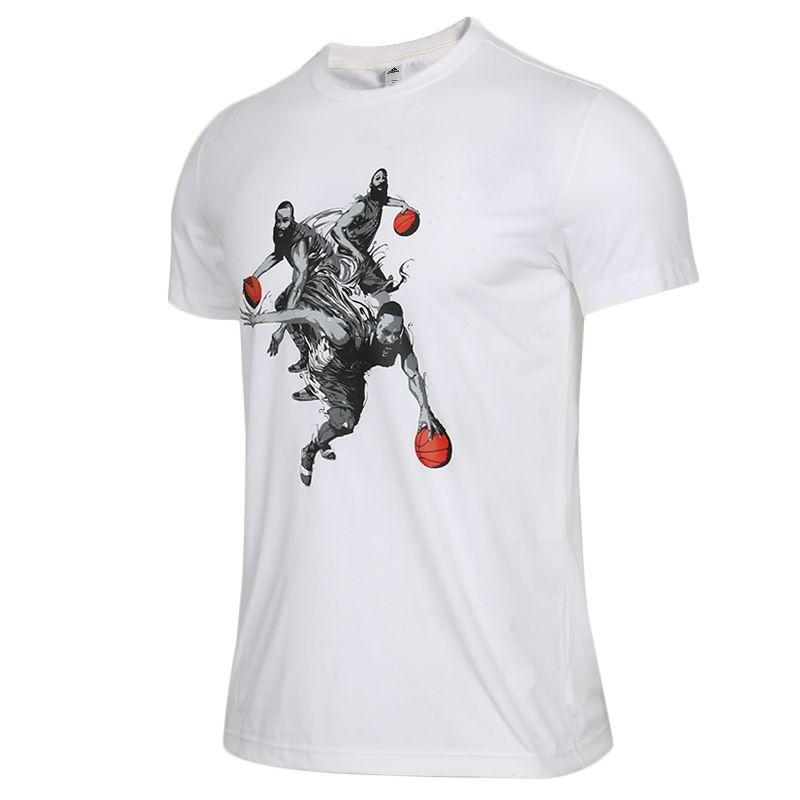 Adidas阿迪达斯男装上衣2019春季 哈登篮球运动短袖跑步训练舒适休闲透气圆领T恤DZ1872