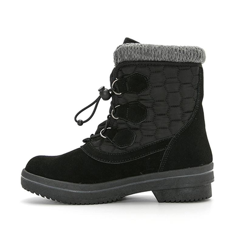 斯凯奇 Skechers 女鞋 加绒保暖高帮棉鞋棉靴子系带休闲雪地靴  49841-BLK
