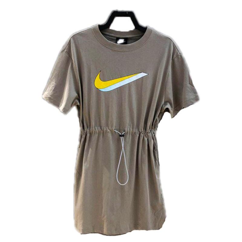 耐克Nike 女装 彩钩透气运动休闲时尚收腰圆领半袖宽松裙子短裙 CU5173-342