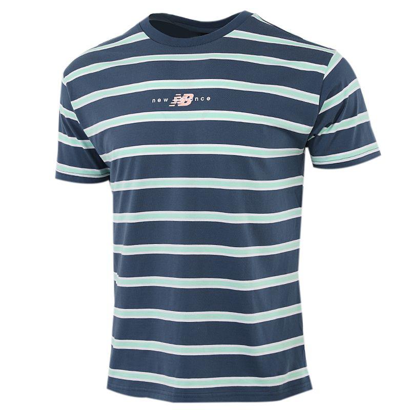 New Balance 男装 时尚简约条纹短袖T恤 AMT01514-SNB