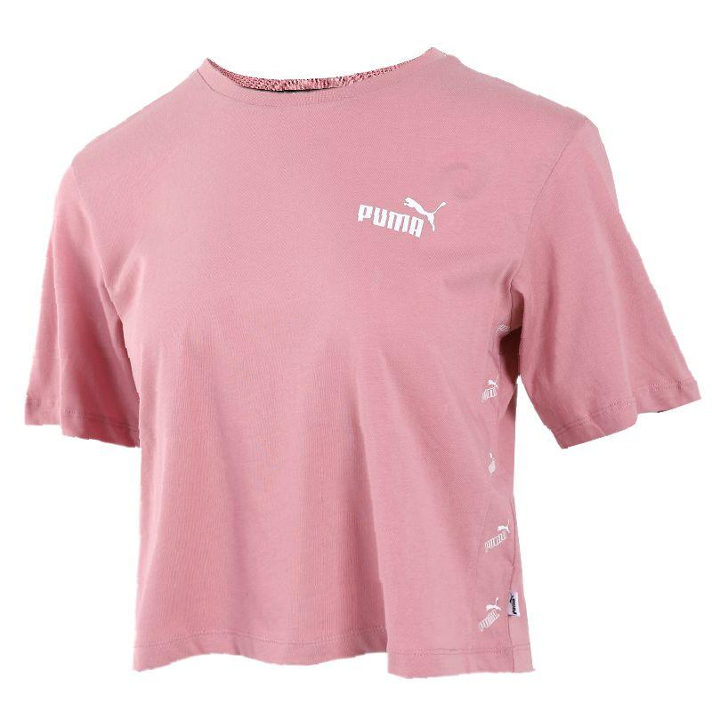 彪马PUMA 女装 运动休闲时尚潮流舒适透气短款圆领串标宽松短袖T恤 586597-16