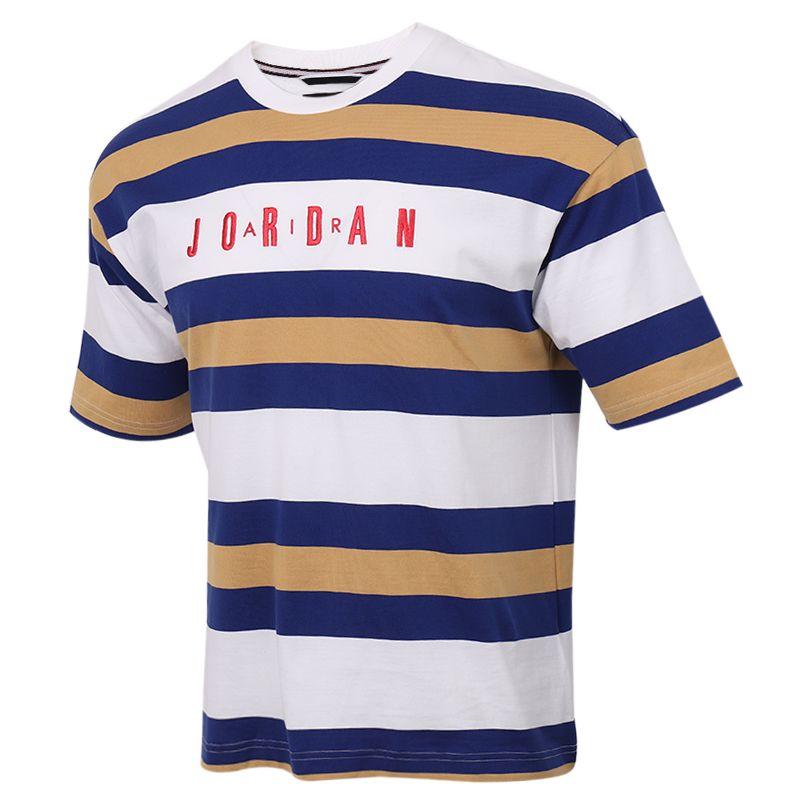 耐克NIKE  J SPRT DNA HBR S/S TOP 男装 运动条纹跑步透气T恤 CK9572-100