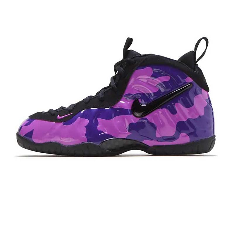耐克NIKE 儿童 运动场上训练防滑耐磨紫迷彩白喷舒适透气休闲篮球鞋 843755-012