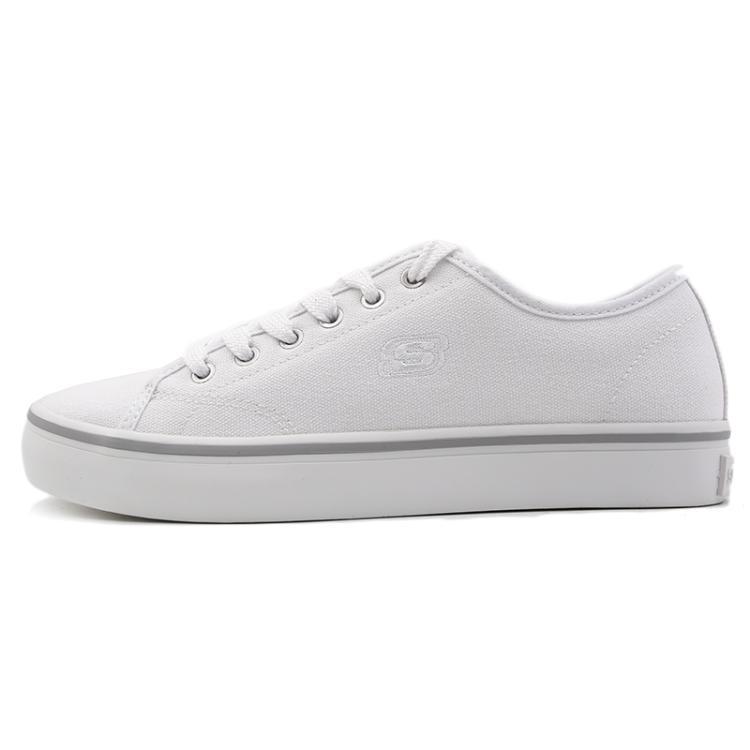斯凯奇女鞋 Skechers  低帮绑带耐磨板鞋帆布鞋休闲鞋66666131-WHT