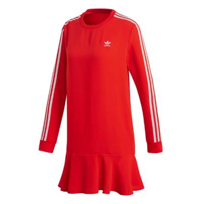 阿迪达斯三叶草Adidas 女装 新款运动服时尚圆领长袖荷叶边连衣裙长款T恤 DW3880