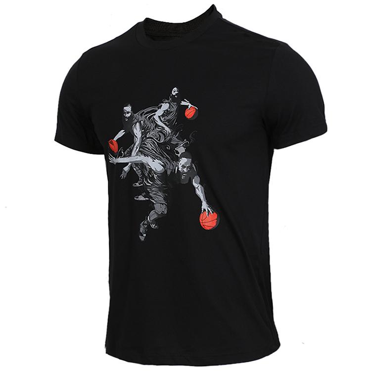 Adidas阿迪达斯男装 2019春季 舒适透气休闲上衣跑步训练运动T恤圆领针织套头衫 哈登DZ1871