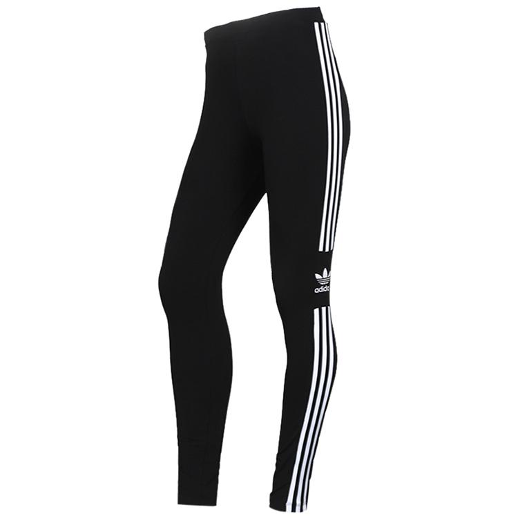 Adidas 阿迪达斯三叶草  女子 打底裤时尚三条纹运动裤休闲跑步紧身长裤 DV2636