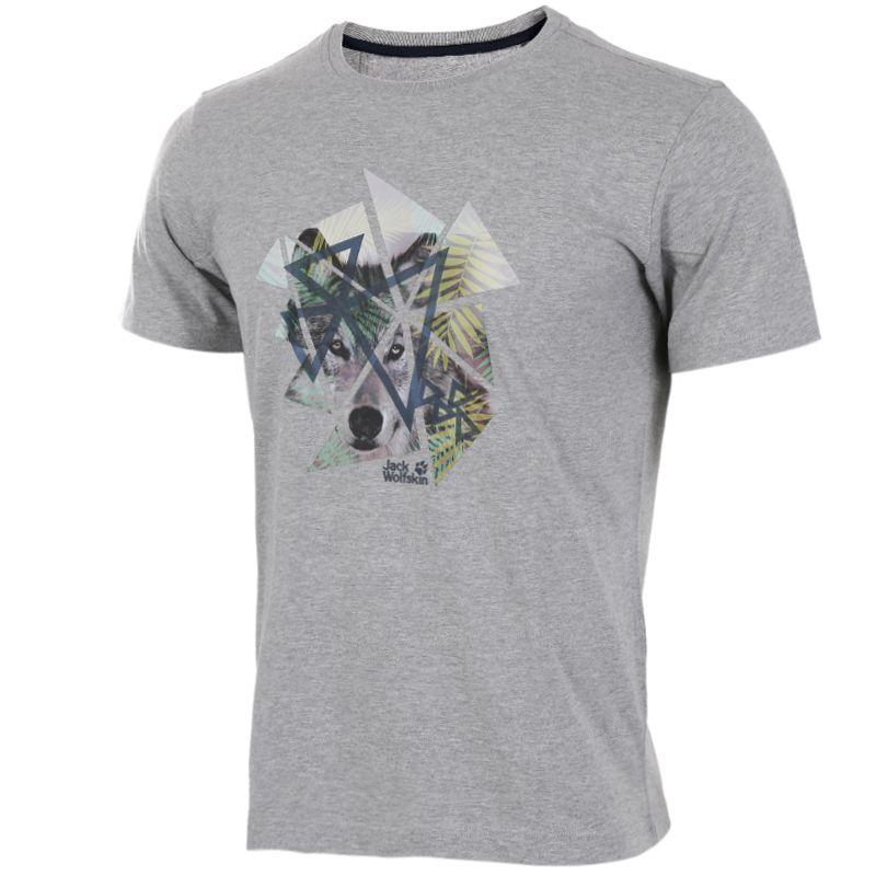 狼爪Jack wolfskin 5012021-6110 男装 户外运动休闲透气圆领短袖T恤 5012021-6110