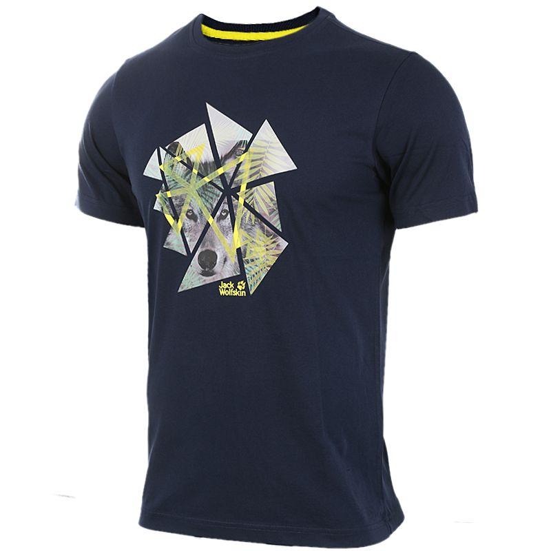 狼爪Jack wolfskin  男装 户外运动休闲透气圆领短袖T恤 5012021-1010
