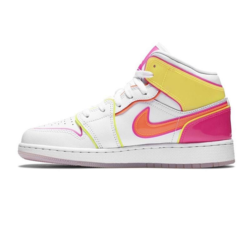 耐克NIKE AIR JORDAN 1 MID EDGE GLOW GS 儿童 糖果果冻钩运动篮球鞋 CV4611-100