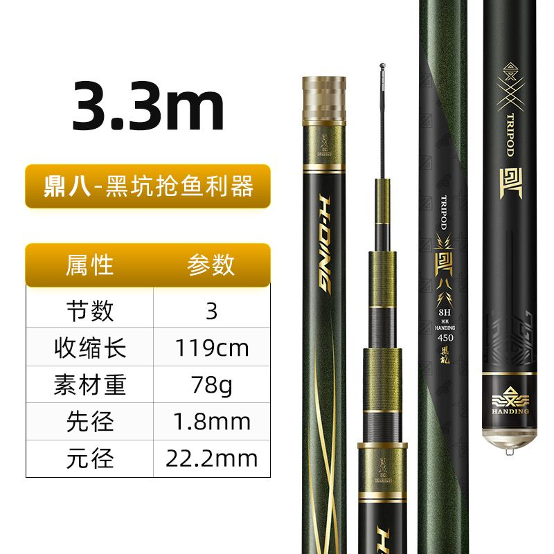 高碳8H3.3米竞技黑坑竿【三斤直飞,抢鱼利器】