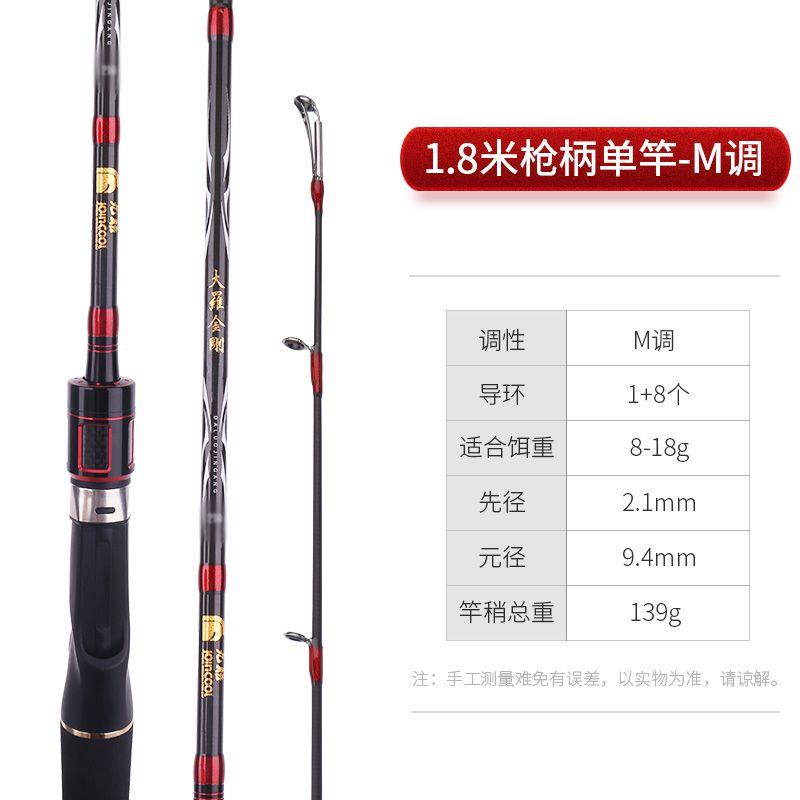 碳素路亚1.8米枪柄单竿【更多导环结实抗造】