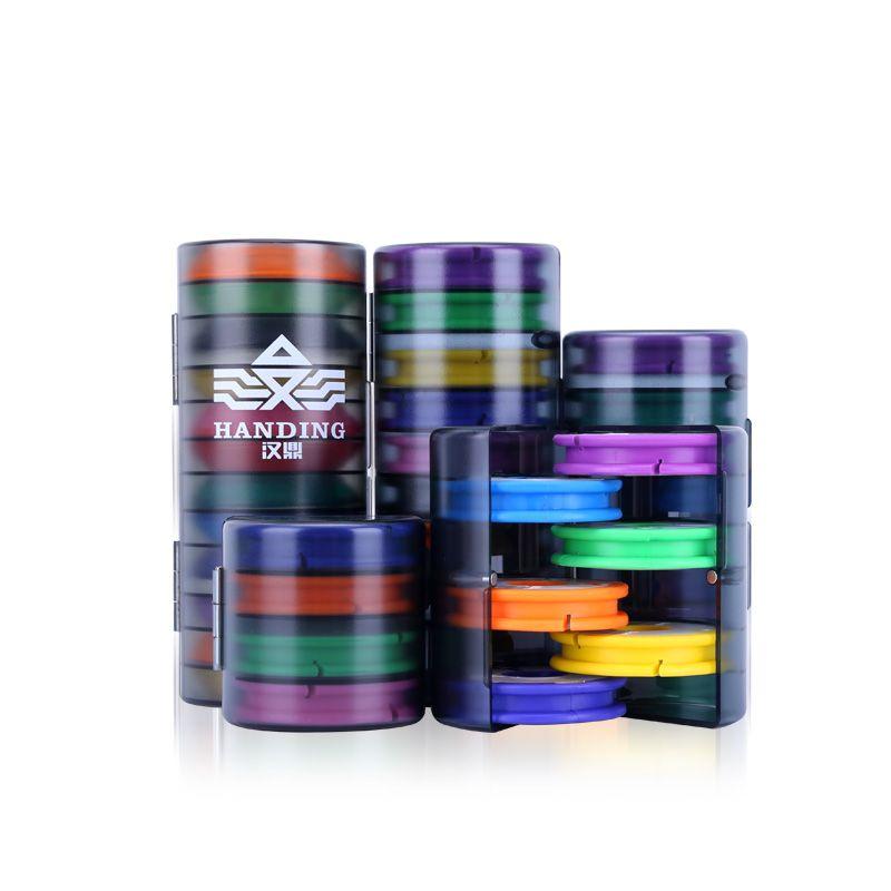 汉鼎主线盒大线轴多功能12轴硅胶主线轴线组盒钓鱼配件彩虹轴ZXZ