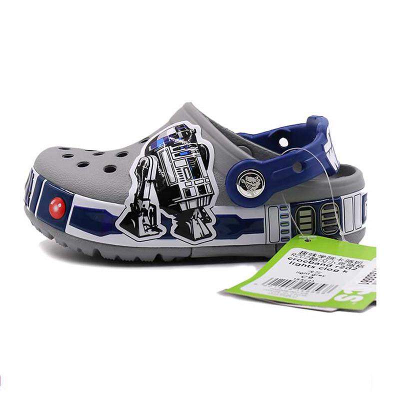 卡洛驰 Crocs 男童 小克骆格儿童涉水凉鞋防滑洞洞鞋 205008-007 下单赠送智必星鞋扣一个